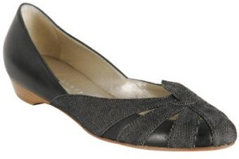 Theory black leather denim 'Domani.Montecarl Den' flats