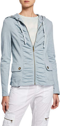 XCVI Park Slope Ruched Zip-Front Hooded Jacket