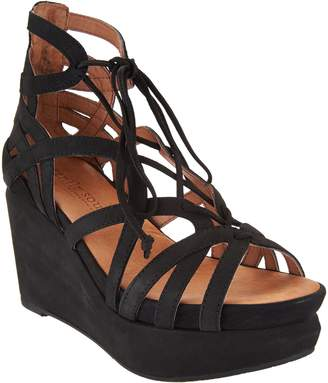 Kenneth Cole Gentle Souls By Gentle Souls Leather Lace-up Wedge Sandals - Joy