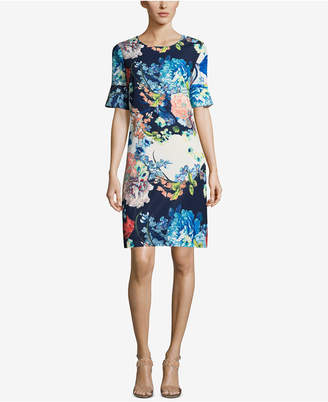 ECI Bell-Sleeve Floral-Print Dress