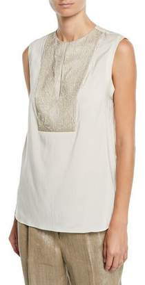 Brunello Cucinelli Embroidered Sequined-Bib Sleeveless Silk Blouse