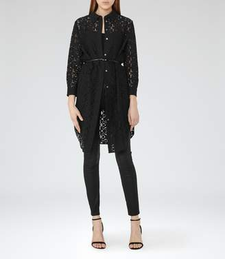 Reiss Carda - Lace Shirt Dress in Black