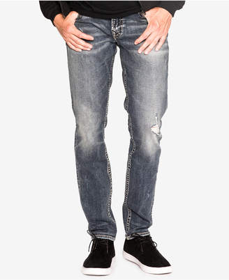 Silver Jeans Co. Men's Taavi Slim Fit Stretch Destroyed Jeans