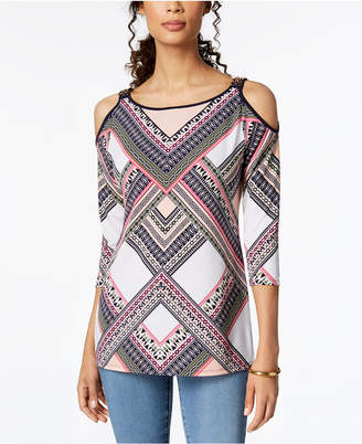 JM Collection Printed Cold-Shoulder Tunic, Created for Macy's