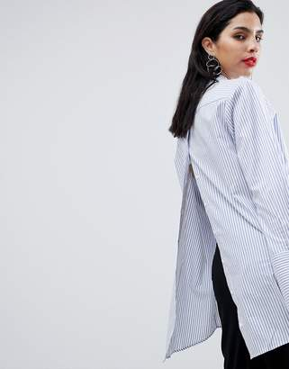 Sisley Oversized Open Back Stripe Shirt