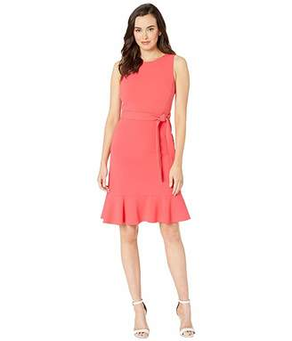 Calvin Klein Ruffle Hem Dress w/ Tie Belt