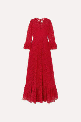 Valentino Ruffled Guipure Lace Gown - Red