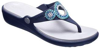 Crocs Thong Sandals - Sanrah Diamante Wedge Flip