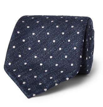 Drakes Drake's 8cm Polka-Dot Herringbone Silk And Linen-Blend Tie