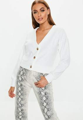 Missguided White Horn Button Chunky Ribbed Cardigan