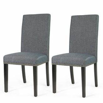 XtremepowerUS Sef of 2 Barton Luxury Stylish Nail Head Fabric Dining Chair Extra Large, Grey