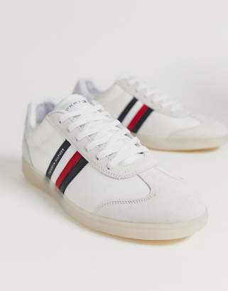 b073ba13 Tommy Hilfiger mixed fabrication trainer with contrast sole and flag in  white