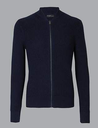 Marks and Spencer Supima® Cotton Rich Zip Through Cardigan