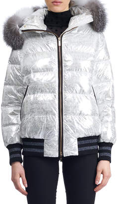 Gorski Apres-Ski Short Quilted Puffer Jacket w/ Fox-Fur Hood