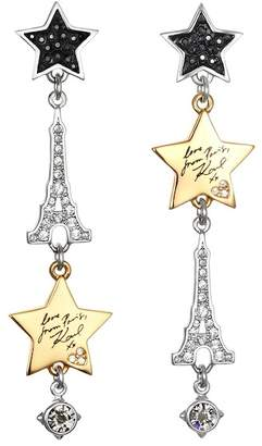 Karl Lagerfeld Drama Paris Swarovski Crystal Accented Mixed Charm Drop Earrings
