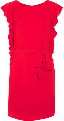 MICHAEL Michael Kors - Ruffled Crepe Mini Dress - Red $135 thestylecure.com