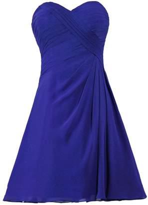 ANTS Women's Simple Short Bridesmaid Dress Chiffon Homecoming Dresses Size US