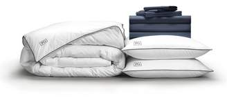 Pillow Guy Full Luxe Soft & Smooth Perfect White Goose Down Bedding Set - Dark Navy