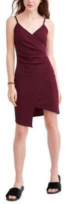 Almost Famous Juniors' Pleated Asymmetrical Wrap Dress