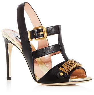 Moschino Women's Logo Leather Caged High-Heel Sandals