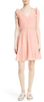Rebecca Taylor Ruffle Trim Silk Dress