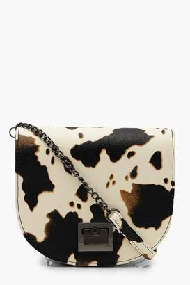boohoo Cow Print Cross Body Bag