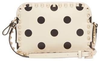 Valentino Rockstud Camera Polka Dot Leather Cross Body Bag - Womens - White Black