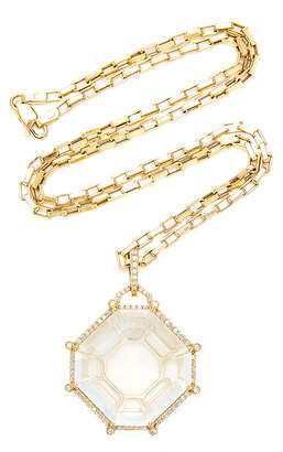 Goshwara Gossip 18K Yellow Gold and Moon Quartz Octagon Pendant Necklace