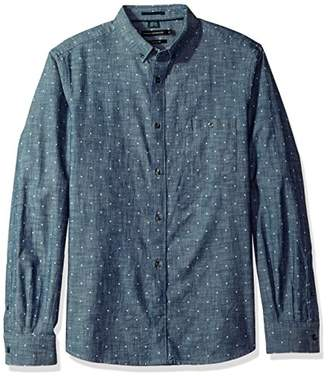 French Connection Men's Long Sleeve Printed Regular Fit Button Down Shirt