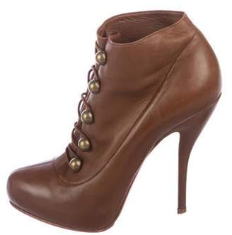 Christian Louboutin Leather Ankle Booties Brown Leather Ankle Booties