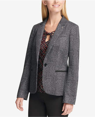 Tommy Hilfiger One-Button Elbow-Patches Plaid Blazer