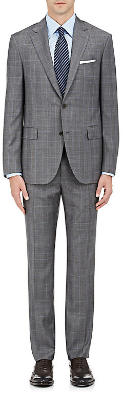 Barneys New York Barneys New York Men's Plaid Wool Two-Button Suit
