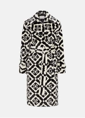 Mary Katrantzou Stokes Coat Black/White Tiles