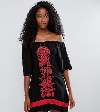 Akasa Off The Shoulder Embroidered Beach Dress