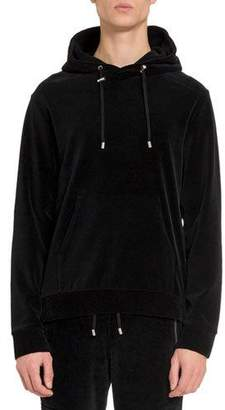 Balmain Men's Velvet Side-Zip Hoodie