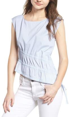 Trouve Ruched Poplin Top