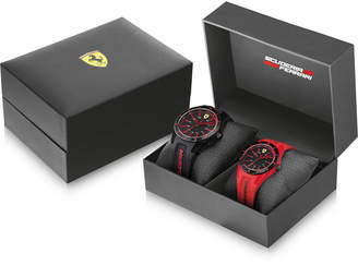 Ferrari Men's Red Rev Black & Red Silicone Strap Watches 38mm & 44mm Gift Set