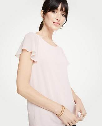 Ann Taylor Flutter Sleeve Mixed Media Top