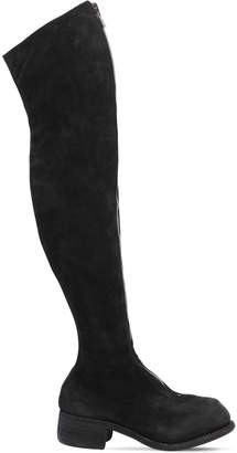 Pl4 Reverse Leather Over The Knee Boots