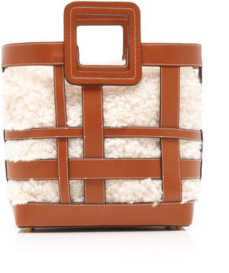 STAUD Shirley Woven Faux Shearling And Leather Tote