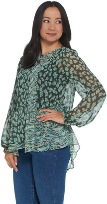 Logo By Lori Goldstein LOGO by Lori Goldstein Printed Blouse with Patchwork and Ruffles