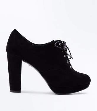 New Look Wide Fit Black Comfort Flex Lace Up Shoe Boots