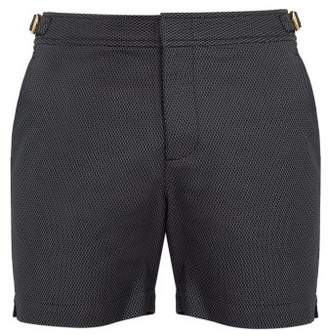 Orlebar Brown Bulldog Honeycomb Patterned Swim Shorts - Mens - Black