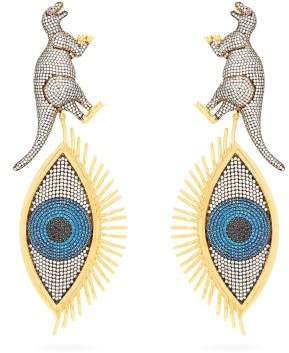 Begum Khan - Dino Ramses Crystal Pave Gold Plated Clip Earrings - Womens - Silver Multi