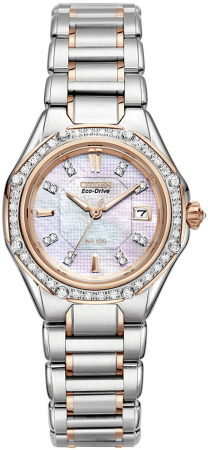 Citizen Women's Signature Octavia Eco-Drive Diamond (1/2 ct. t.w.) Two Tone Stainless Steel Bracelet Watch 29mm EW2096-57D