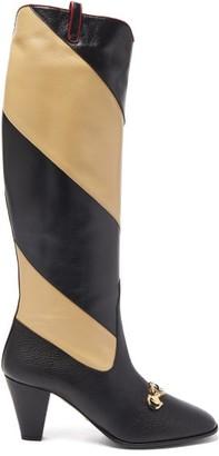 Gucci Zumi Gg Striped Leather Boots - Womens - Black Cream