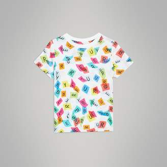 Burberry Confetti Letter Print Jersey T-shirt , Size: 2Y, White