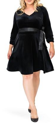 Standards & Practices Millie V-Neck Stretch Velvet Fit & Flare Dress