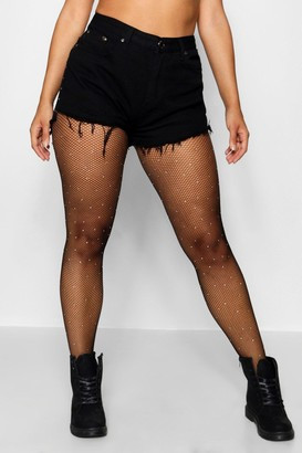boohoo Plus Small Embellished Fishnet Tights