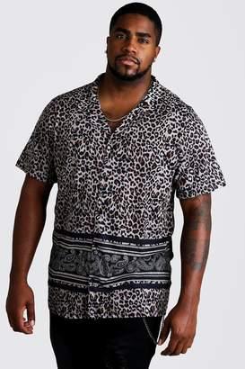 boohoo Big & Tall Animal Print Revere Jersey Shirt
